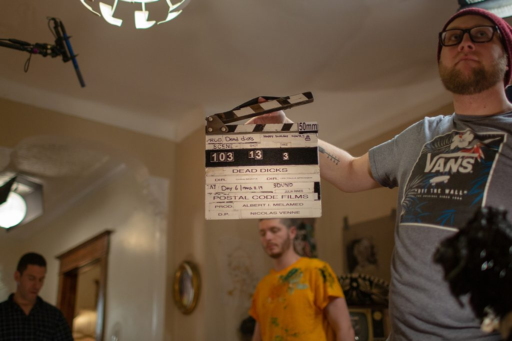 Joel with the clapboard